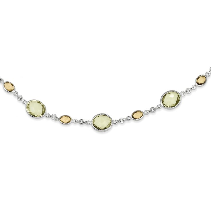 Sterling Silver 18in. Lemon Quartz and Citrine Oval Necklace QX901