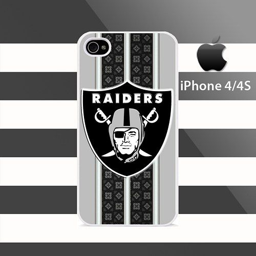 Oakland Raiders Pattern Stripes iphone 4 4s Rubber Case Cover