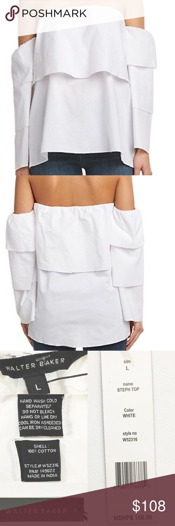 WALTER BAKER Ruffle Sleeve Off-Shoulder Steph Top WALTER BAKER Ruffle Sleeve Off-Shoulder Steph Top   BRAND: Walter Baker SIZE: Large COLOR: White MATERIAL: 100% cotton  CARE: Hang wash cold separately. Hang or Line dry CONDITION: NEW with tags STYLE:W52316 MSRP: $158 DETAILS: Solid white color. 100% cotton fabric. Off-the-shoulder, elasticized and ruffled neckline. Bell sleeve. 3/4-sleeve length with layers detail. Pullover style. Made in India  APPROXIMATE MEASUREMENTS:  Length: 21 inches…