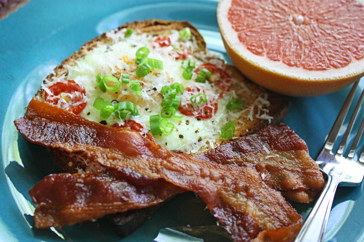 egg in basket with tomato and scallions | Breakfast | Pinterest