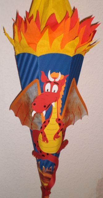 Handgefertigte Schultüte oder Bastelset Schultüte- Drache - E-0032 | eBay
