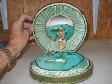 OLD VINTAGE ANTIQUE VANITY MAKEUP MUSIC BOX CASE BALLERINA MIRROR PERFUME