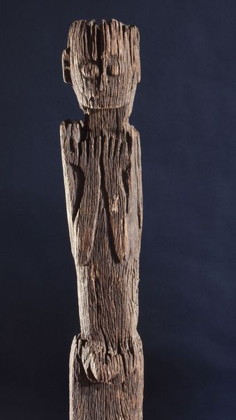 This figurative carving may be a 'bogy', serving as a site for a village guardian spirit, deterring strangers and enemies