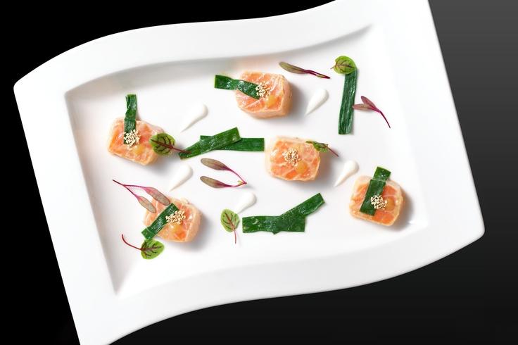 Nuta Salmon: poached salmon & green onion with miso vinaigrette