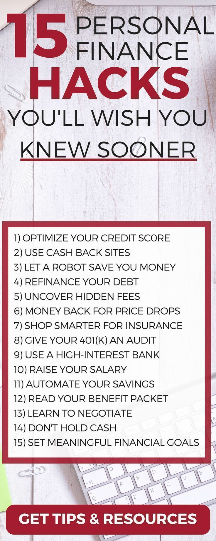 Discover 15 personal finance hacks to save and make more money (you'll wish you knew sooner) life hacks   money management tips   personal finance tips   personal finance lessons   personal finance organization #MONEYMANAGEMENT #PERSONALFINANCE #MONEYTIPS #BUDGET