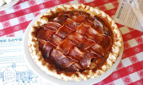 Made for bacon lovers, here's an exceptional sweet and salty pie featuring a bacon lattice.