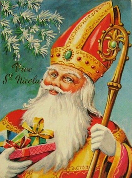 Carte postale illustrée : Vive St Nicolas, France