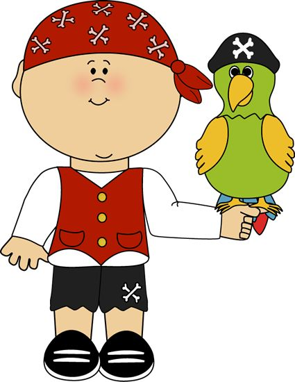PIRATE BOY AND PARROT CLIP ART