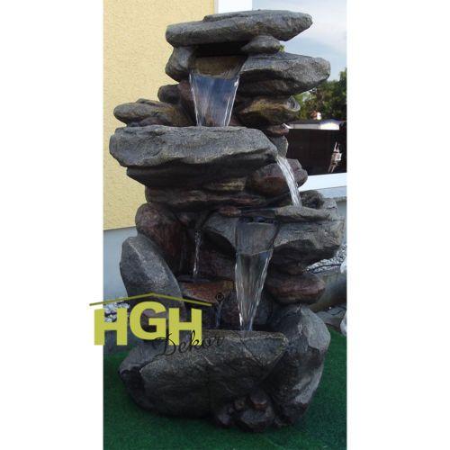 Springbrunnen-Terrassenbrunnen-Garten-Wasserfall-Pumpe-und-LED-Beleuchtung-S