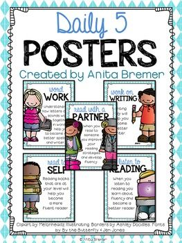 These classroom posters show the different components of the Daily Five, and explain what their purposes are. Perfect for a Daily 5 rotation board or a Focus Board!The Daily 5 and CAFE are registered trademarks of The 2 Sisters, Joan Moser and Gail Boushey.