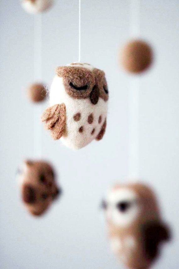 Baby Mobile - Needle Felted Owl Mobile, Nursery Decor, Baby Shower Gift