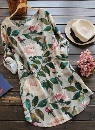Cotton Linen Floral Long Sleeve Mini Casual Dresses (1029109) @ floryday.com