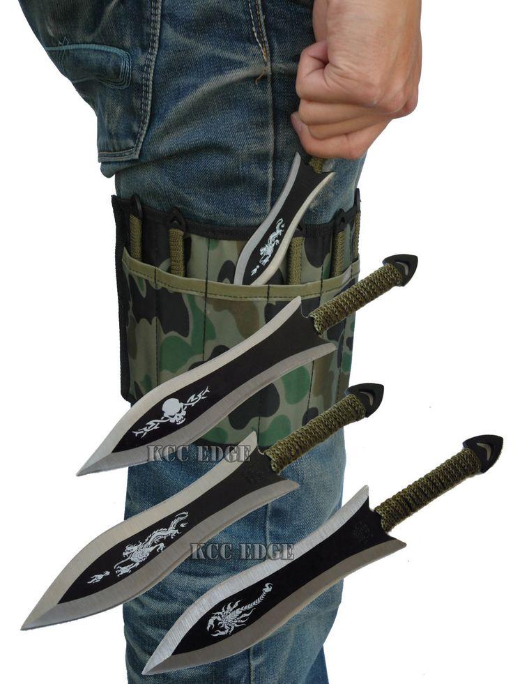 Thrower Throwing Knife Set w Leg Camo Wrap Dragon Scorpion Skull
