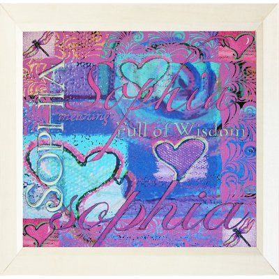 "Buy Art For Less 'Sophia Meaning Full of Wisdom Hearts' Framed Painting Print Size: 12"" H x 12"" W x 1"" D"