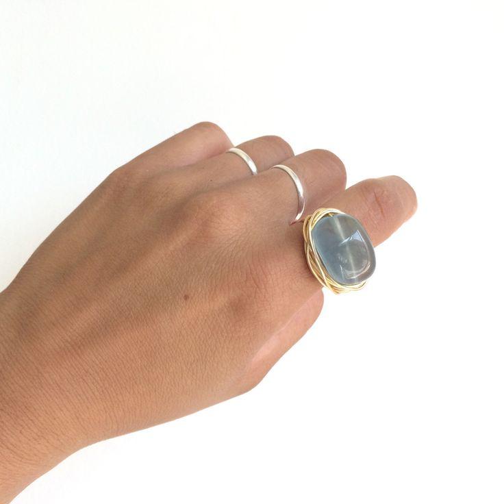 #stunning  #Aquamarine #ring Etsy https://www.etsy.com/mx/listing/458122840/stunning-aquamarine-quartz-ring-natural