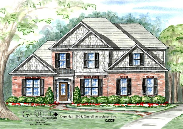Garrell Associates, Inc. Bristol House Plan # 05329, Front Elevation, Master Down House Plans, Traditional Style House Plans (2,032 s.f.) Design by Michael W. Garrell