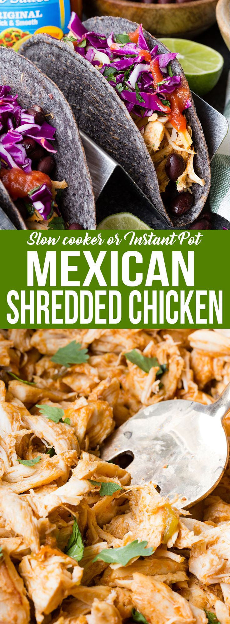These amazing Mexican Shredded Chicken Tacos are insanely flavorful starting with the shell, and including every ingredient added. Made with Ortega products for unique and authentic Mexican flavors. Perfect for #TacoTuesday #ad