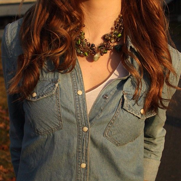 Denim and big necklaces! details in the new post up on fashionforall.no (link in bio)? check it out!
