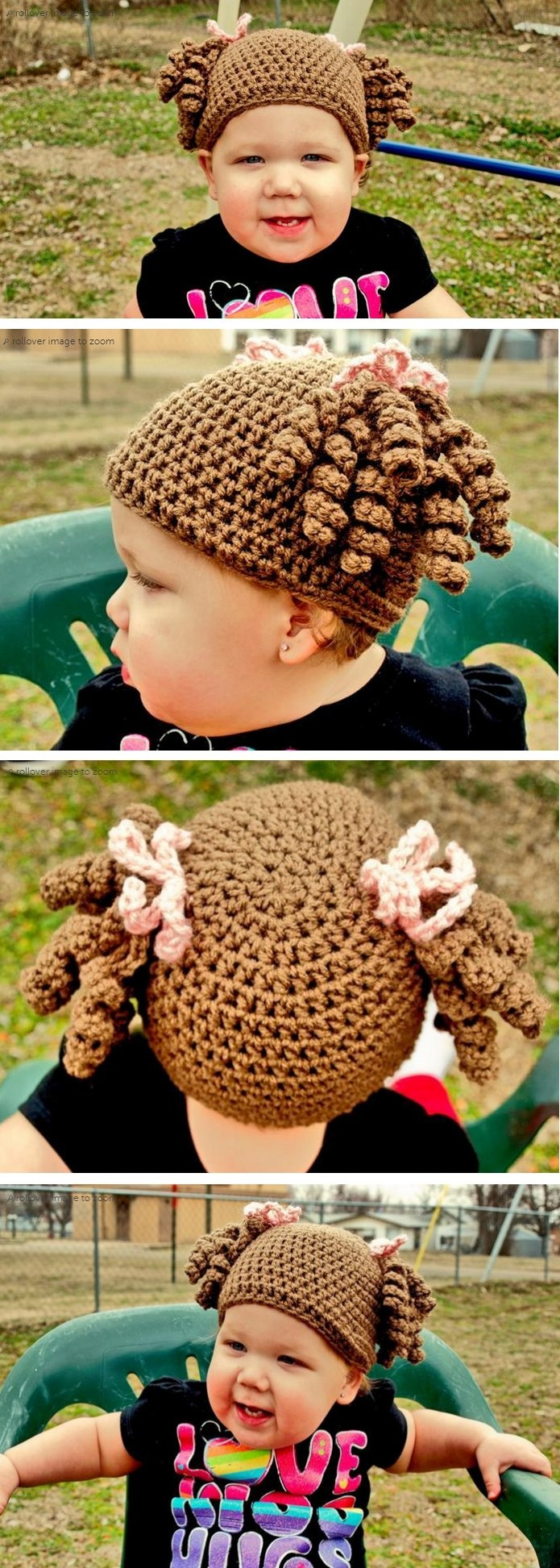 Little Miss Curly Q hat - Just make a basic beanie and add some curls and bows, reminds me of a Cabbage Patch Kid *Inspiration*