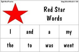 """These are worksheets made up of the 100 most common used words. She breaks them up into """"star words"""", """"cloud words"""", and """"moon words"""". Each star, cloud, and moon are also in subsets by color. Every time a they learn a set of Color words they get a certificate. Seems like a cool system!"""