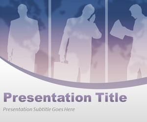 Virtual team PowerPoint Template is a professional PowerPoint slide design for employees with light violet color tones and business people silhouette