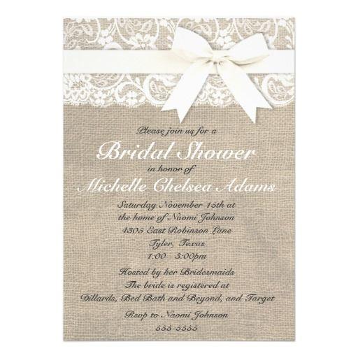 white vintage lace burlap bridal shower invitation - Vintage Wedding Shower Invitations