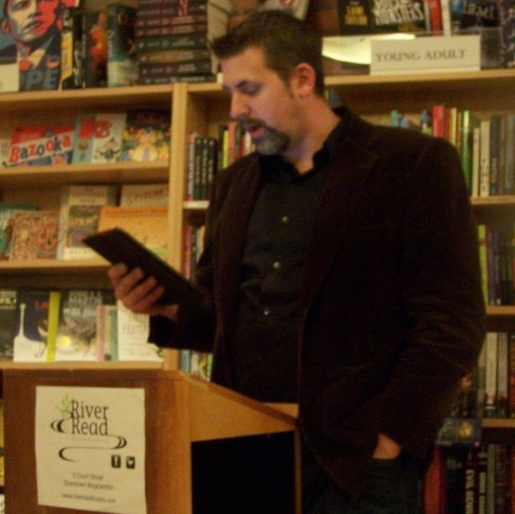 """I'm very fortunate to have a """"homebase"""" locally for my reading and signings. RiverRead Bookstore is a small, indie bookstore in which I hold an annual Halloween reading. It's small, intimate, and there's also usually wine."""