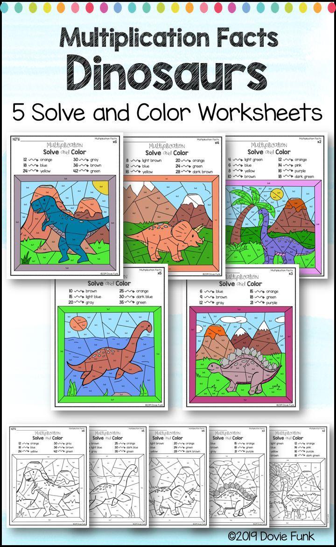 Multiplication Coloring Worksheets Dinosaurs   Color worksheets [ 1170 x 720 Pixel ]