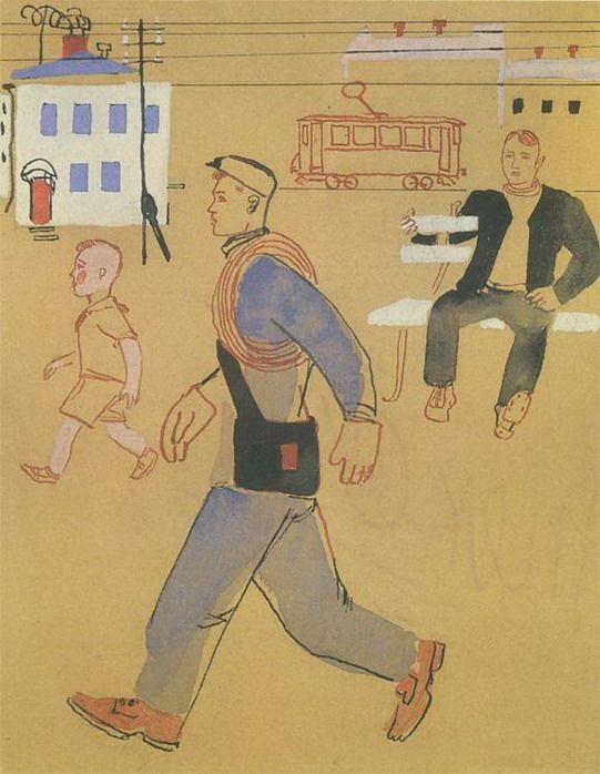 Alexander Aleksandrovich Deineka; 'Electrician' Book Illustration, 1930.