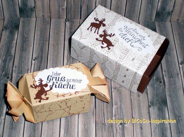 Weihnachtsverpackungen mit Elch als kleines Mitbringsel - xmas / christmas box with elk --- slogan stamp from stampin up