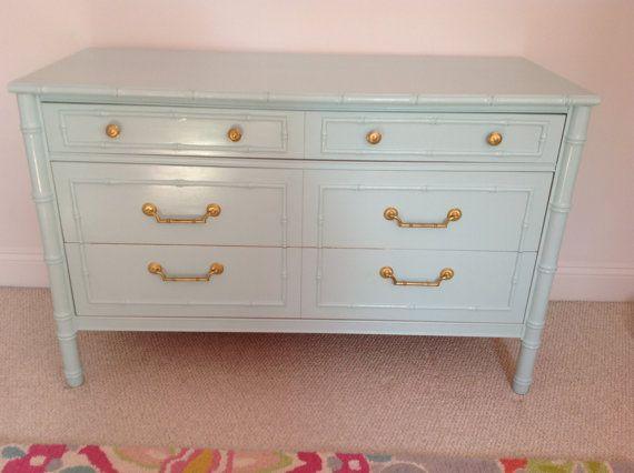 Superior Vintage Pale Blue Bamboo Dresser With Brass Hardware | Craigslist/eBay  Finds | Pinterest | Faux Bamboo, Dresser And Hardware