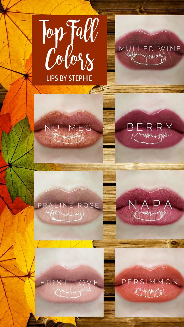 Top Fall LipSense Colors: Mulled Wine, Berry, Napa, Persimmon, Nutmeg, Praline Rose, First Love... long lasting lip color that lasts!  Contact me for more info! Lips by Stephie #406510