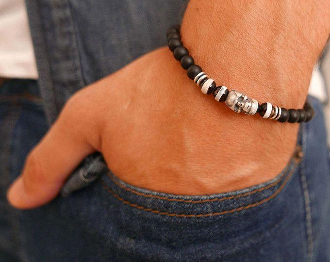 Brazalete pulsera - de pulsera - joyas para hombres - hombres regalo - regalo marido de cráneo pulsera - pulsera de cuentas de los hombres - hombres - novio
