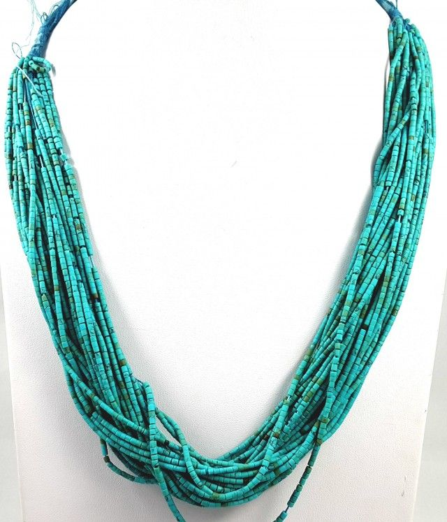 237 CT 30 LINES TURQUOISE TOP QUALITY NECKLACE 1.5X1.5X1.5MMFASHIONABLE BEAD NECKLACE