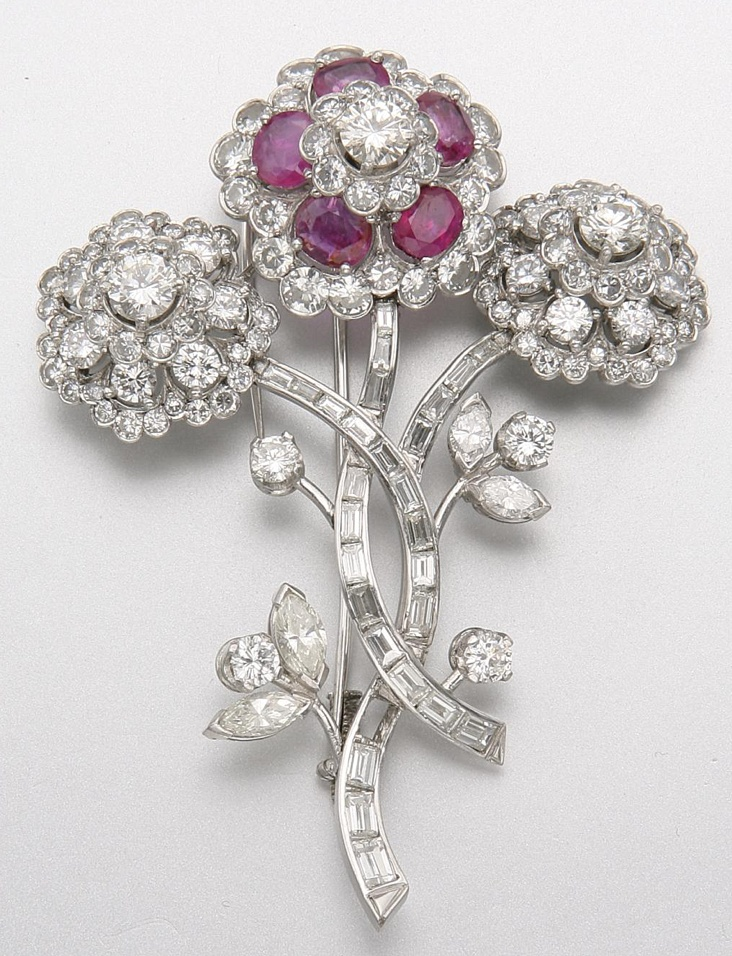 PLATINUM, DIAMOND AND RUBY BROOCH