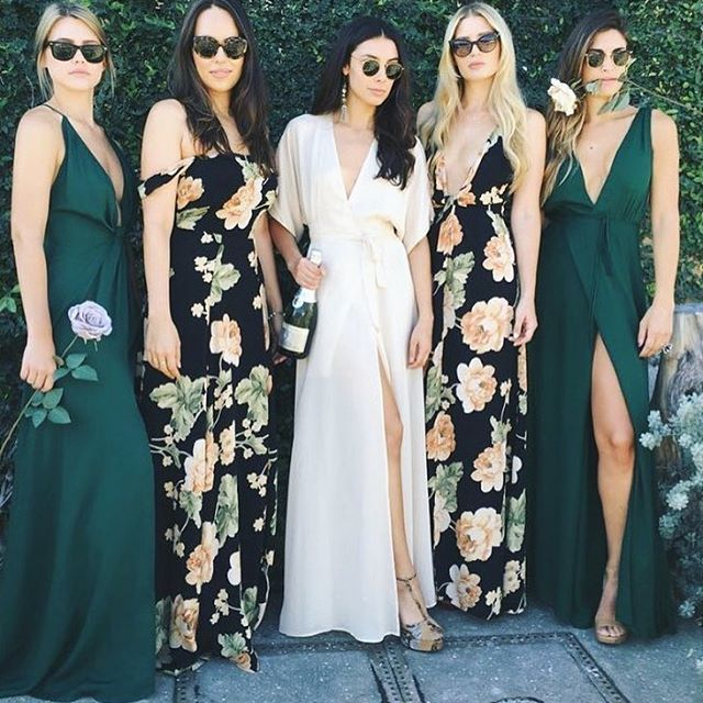 These mismatched bridesmaid fashionistas are killing it! Absolutely bring out your inner diva and own it on your wedding day!  Plan the most awesome wedding at www.menagerie.me | Discover, book and collaborate with the best wedding vendors online.  #mymenagerie #wedding #weddingplanning