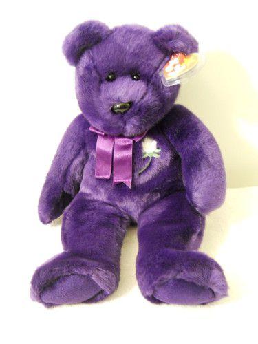 1998 Princess Diana Original Beanie Buddy Purple Soft Bear Green White Rose Tag | eBay