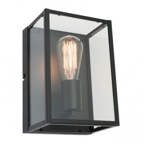 Mercator - Manchester Black Metal and Glass Wall Lamp