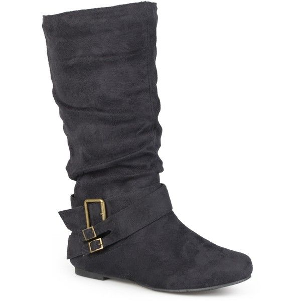 Journee Collection Women's 'Shelley-6' Regular and Wide-calf Buckle... ($45) ❤ liked on Polyvore featuring shoes, boots, black, mid-calf boots, wide calf boots, mid calf boots, slouchy black boots, wide flats and black flats