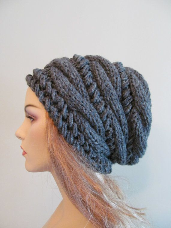 Slouchy Beanie Slouch Hats Oversized Baggy cabled hat womens accessory Grey Hand Made Knit