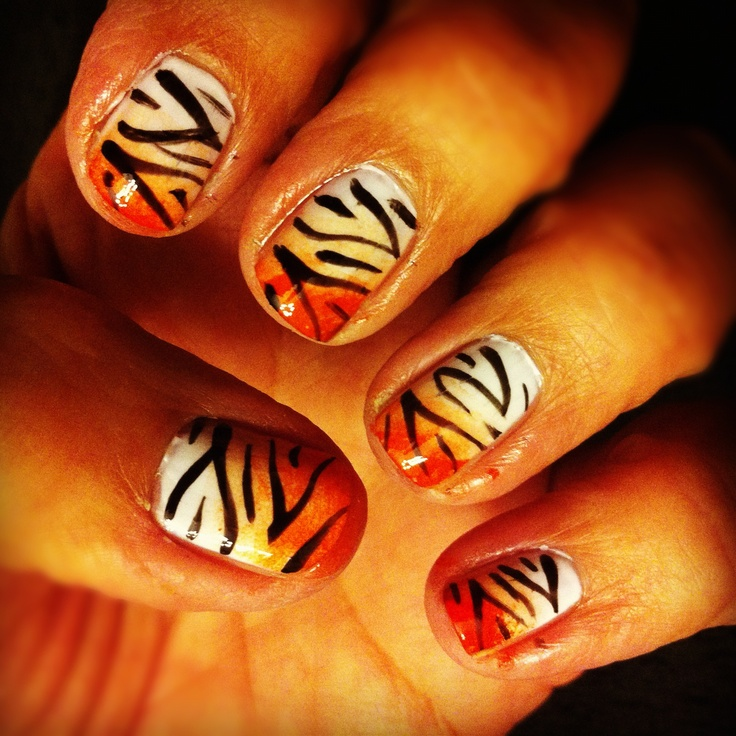 tiger nail art. Turned out awesome!