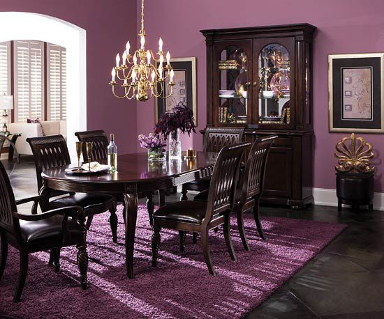 Belmont Dining Collection - I love the dark purple walls against the dark wood furniture. Not crazy about the texture of the rug though.