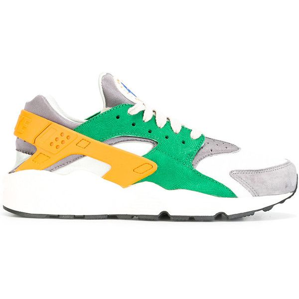 Nike Air Huarache Run SE sneakers ($137) ❤ liked on Polyvore featuring men's fashion, men's shoes, men's sneakers, green, mens lace up shoes, mens green shoes, nike mens shoes, nike mens sneakers and mens perforated shoes