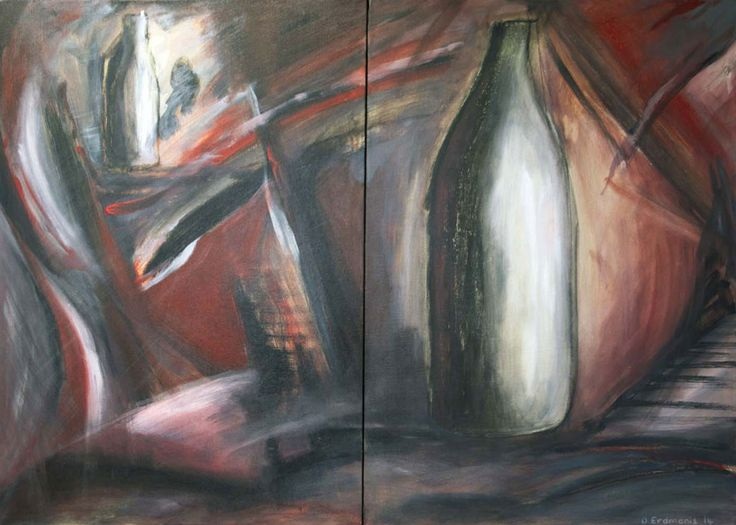 The Glass Factory (Diptych) - Original painting in mixed media: acrylic, charcoal and pastels on stretched canvas