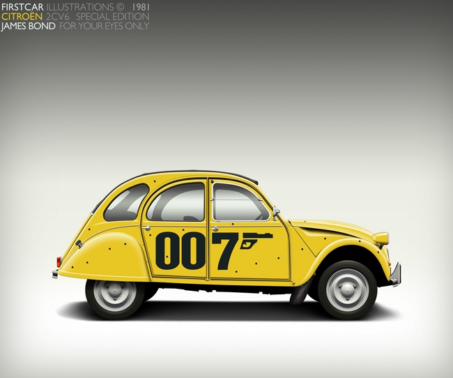 1981 CITROEN 2CV6 007 - A special edition that Citroen produced celebrating the famous chase scene from the Bond Film 'For your Eyes Only' - firstcar illustrations