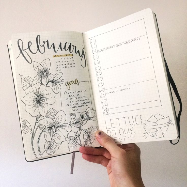"thestudyegg: ""i'm sweating buckets rn bc of the heat and school is starting soon hence stressstressstress so i decided to do the february spread in my bujo! it's not nearly as pretty as my inspiration..."