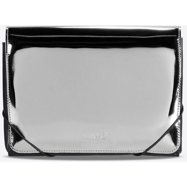 Mm6 By Maison Margiela Clutch found on Polyvore featuring bags, handbags, clutches, silver, silver handbag, silver clutches, silver purse and mm6 maison margiela