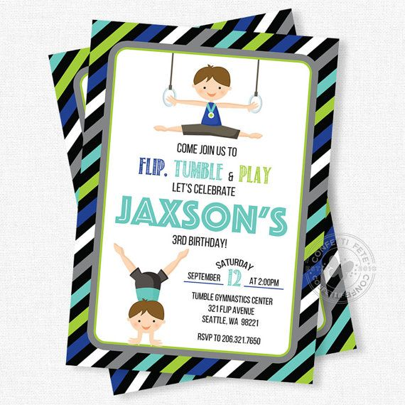 Gymnastics Birthday Invitation, Gymnastics Party Invitation, Boy Birthday Invitation, Gymnastics Invitation, Boy Gymnastics