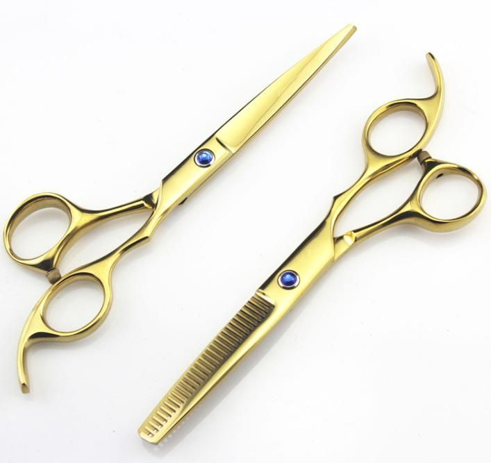 Professional 5.5 6.0 titanium Hairdressing Scissors shears Barber Cutting Thinning hair scissors set styling tools Free Shipping