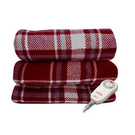 Early Valentines Present from my Bruce! ♥ Sunbeam Microplush Electric Heated Throw Blanket Garnet/Slate Plaid Reversible